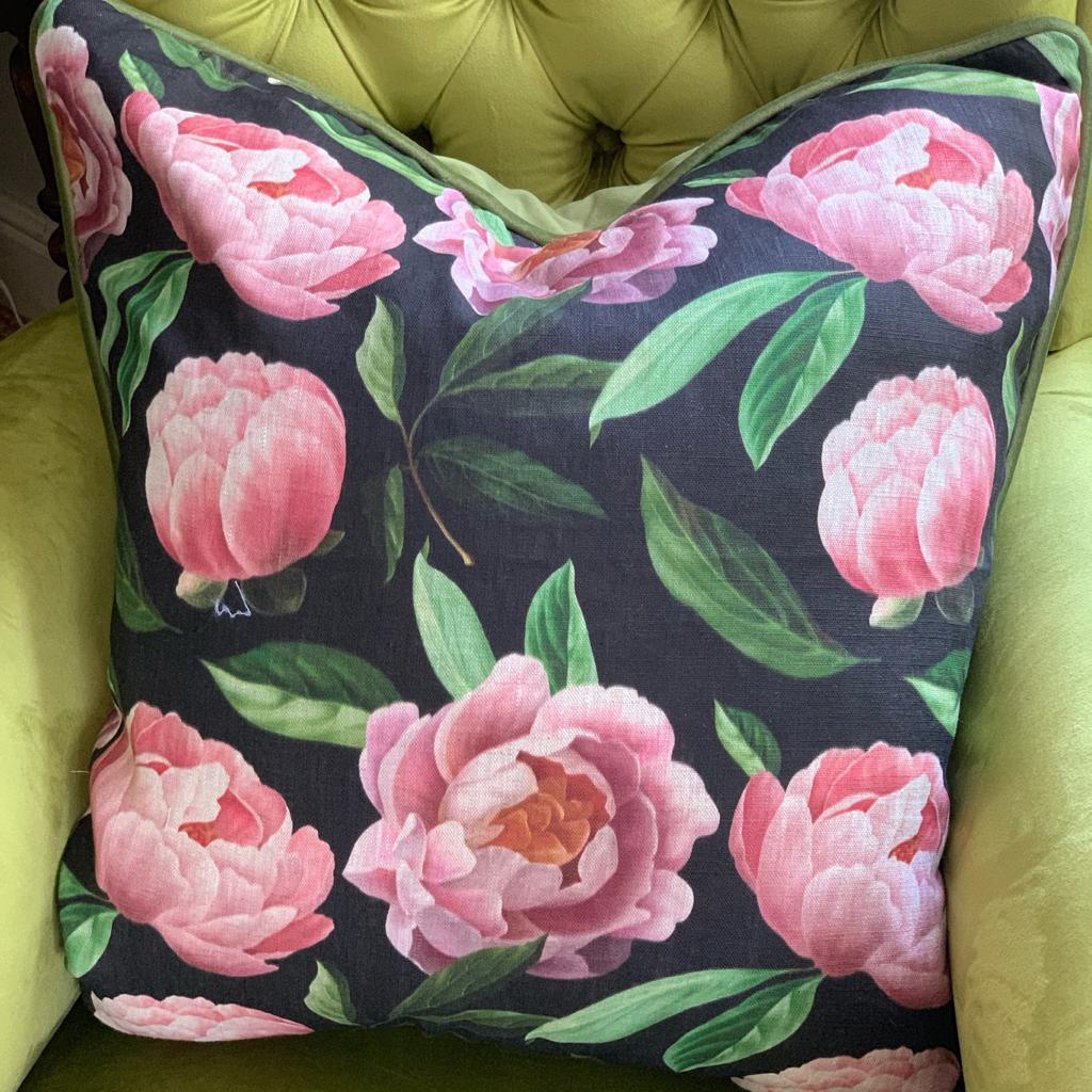 Pink Roses on Black Scatter Cushion